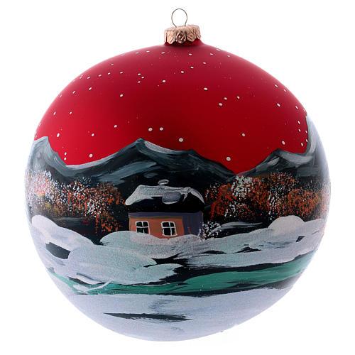 Boule Noël 200 mm village nordique enneigé ciel rouge verre soufflé 2