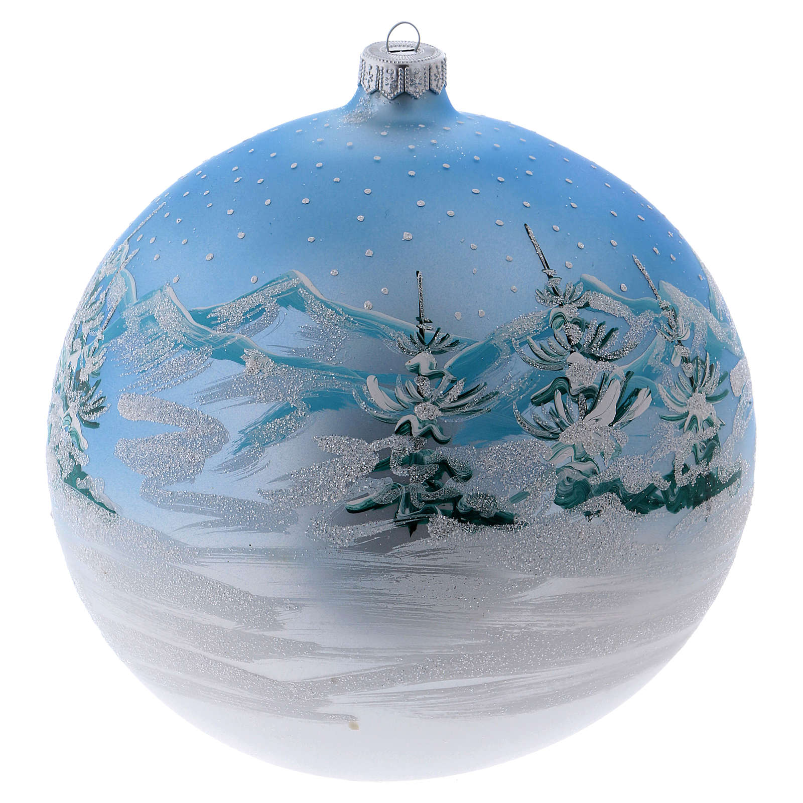 Christmas ball in blown glass 200 mm, snowy Scandinavian landscape 4