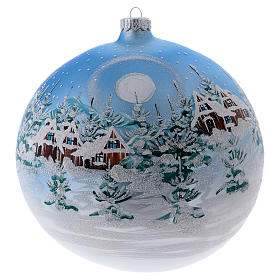 Christmas ball in blown glass 200 mm, snowy Scandinavian landscape s1