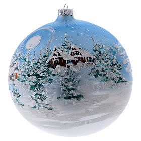 Christmas ball in blown glass 200 mm, snowy Scandinavian landscape s2
