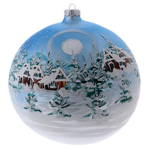 Christmas ball in blown glass 200 mm, snowy Scandinavian landscape 1