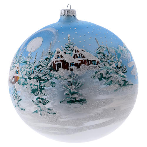 Christmas ball in blown glass 200 mm, snowy Scandinavian landscape 2