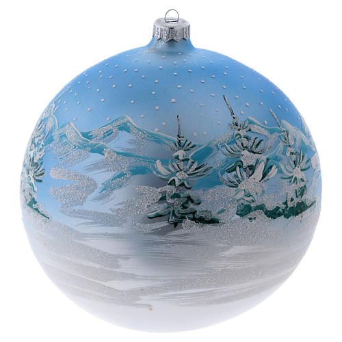 Christmas ball in blown glass 200 mm, snowy Scandinavian landscape 3