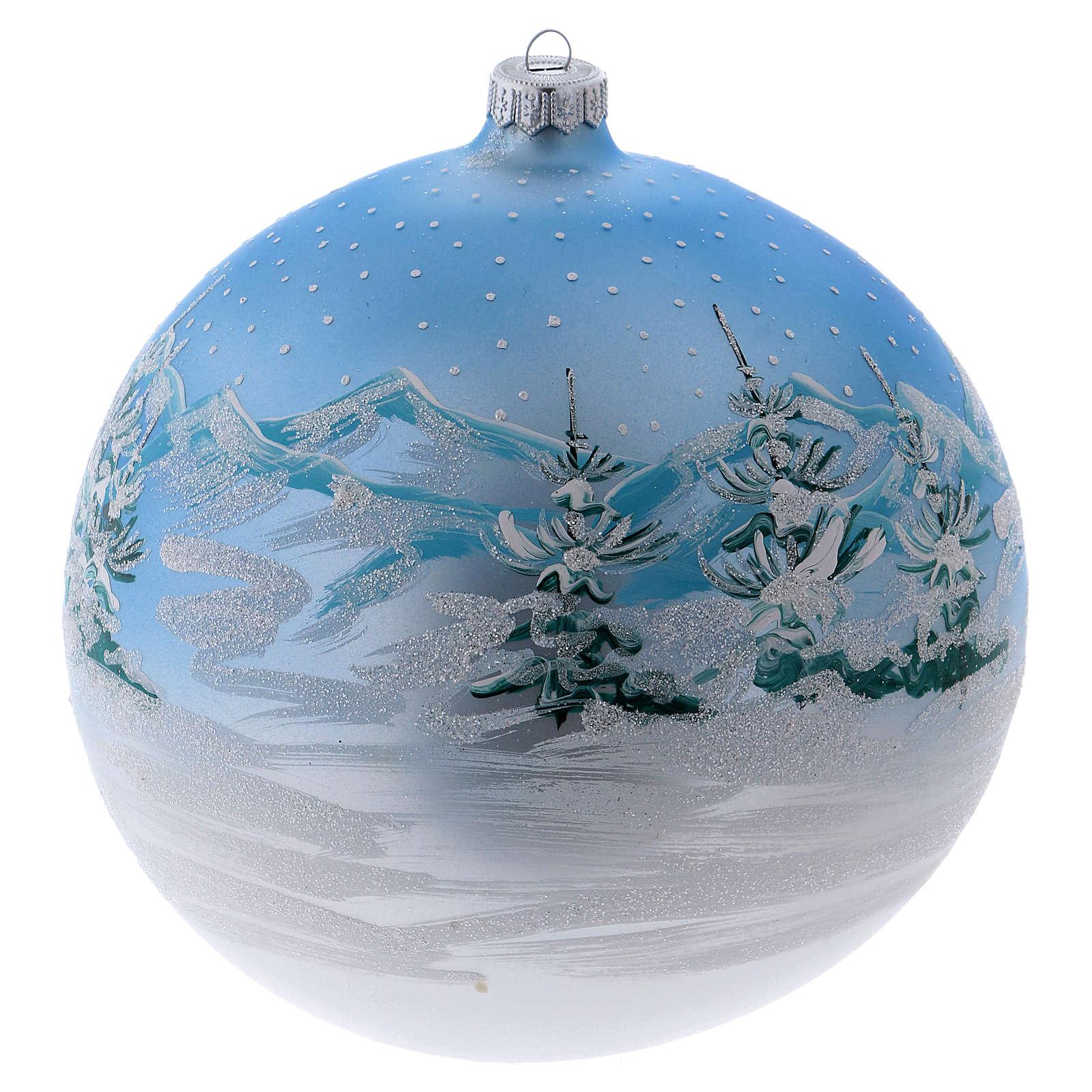 Boule Noël 200 mm paysage scandinave enneigé verre soufflé 4