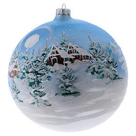 Boule Noël 200 mm paysage scandinave enneigé verre soufflé s2