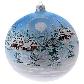 Palla di Natale 200 mm paesaggio scandinavo innevato vetro soffiato s1