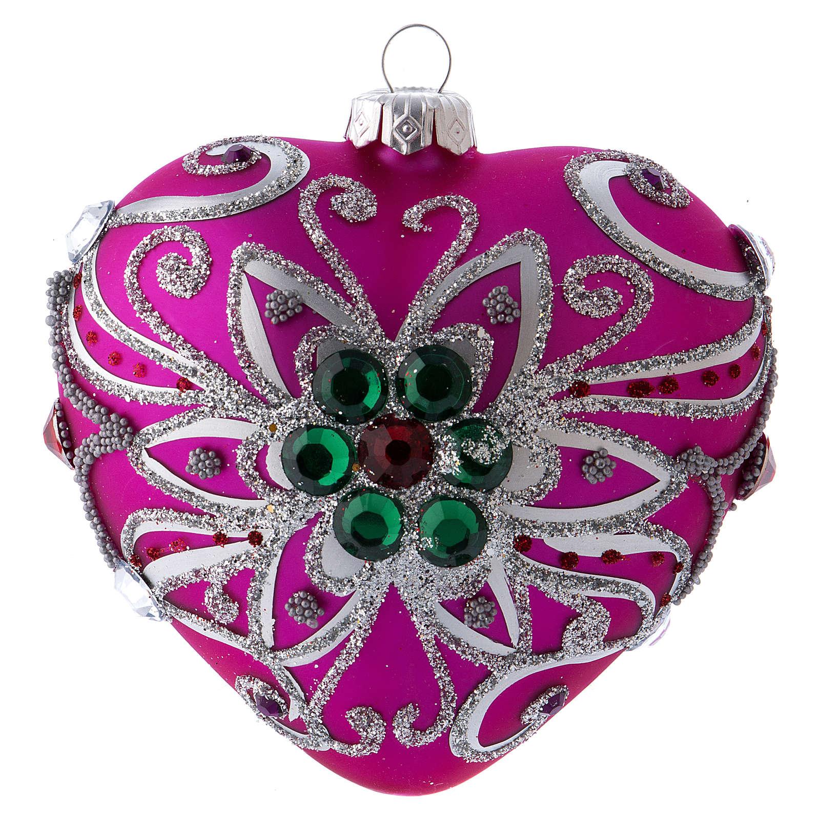 Bola Árbol Navidad corazón vidrio soplado 100 mm rosa motivos plateados 4