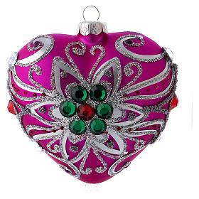 Bola Árbol Navidad corazón vidrio soplado 100 mm rosa motivos plateados s1