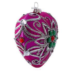Bola Árbol Navidad corazón vidrio soplado 100 mm rosa motivos plateados s2
