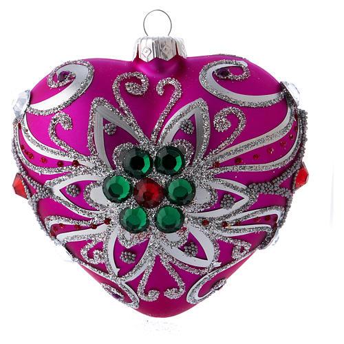 Bola Árbol Navidad corazón vidrio soplado 100 mm rosa motivos plateados 1