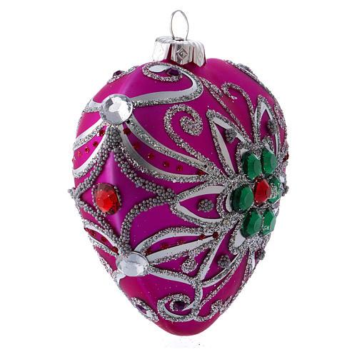 Bola Árbol Navidad corazón vidrio soplado 100 mm rosa motivos plateados 2