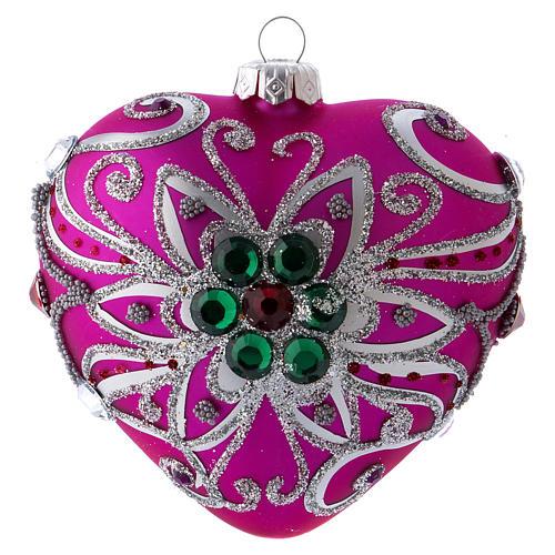 Bola Árbol Navidad corazón vidrio soplado 100 mm rosa motivos plateados 3