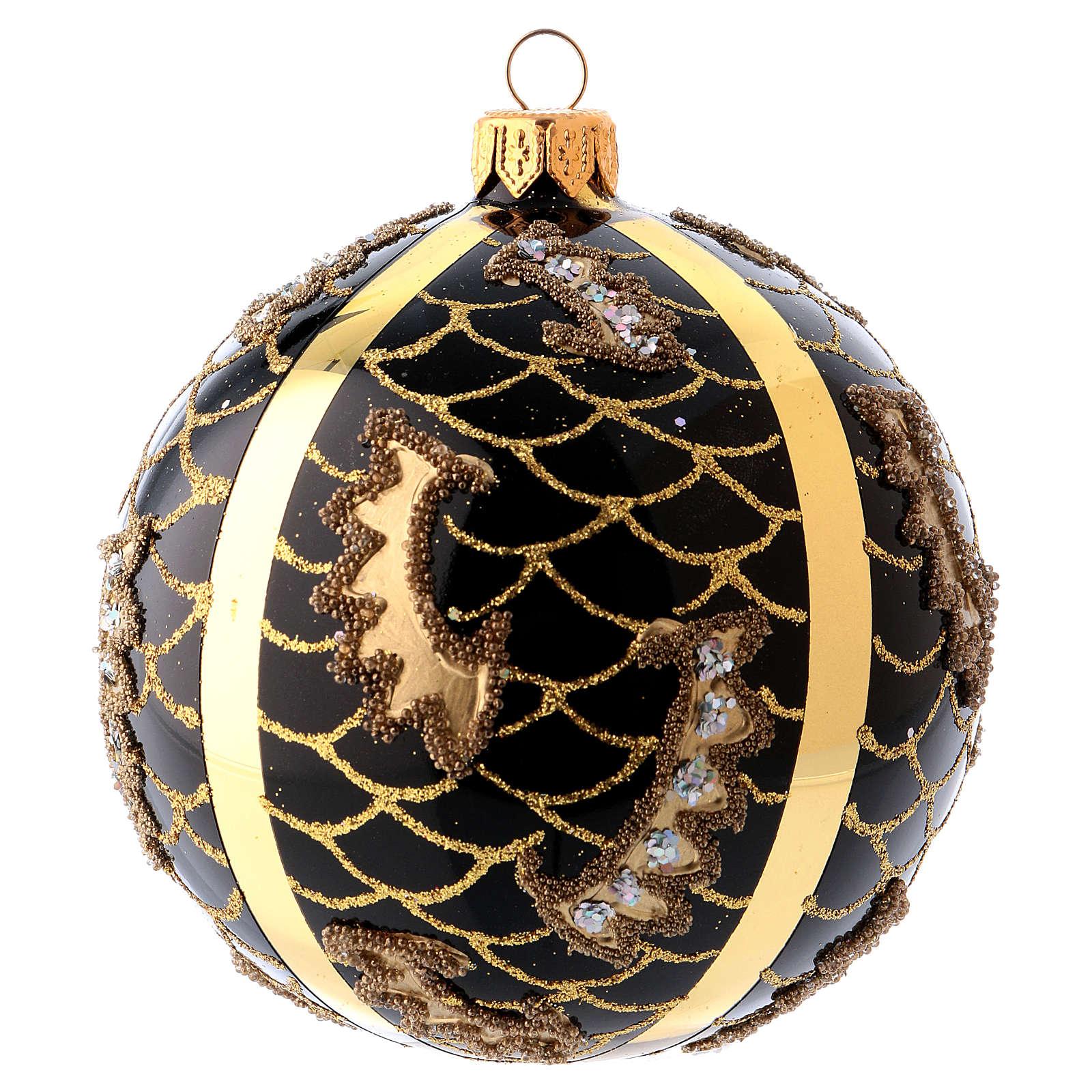 Bola Árbol de Navidad vidrio soplado 100 mm negro motivos diferentes dorados 4