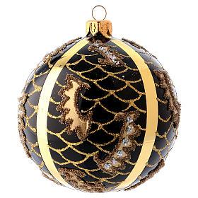 Bola Árbol de Navidad vidrio soplado 100 mm negro motivos diferentes dorados s1