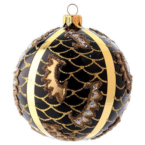 Bola Árbol de Navidad vidrio soplado 100 mm negro motivos diferentes dorados 1