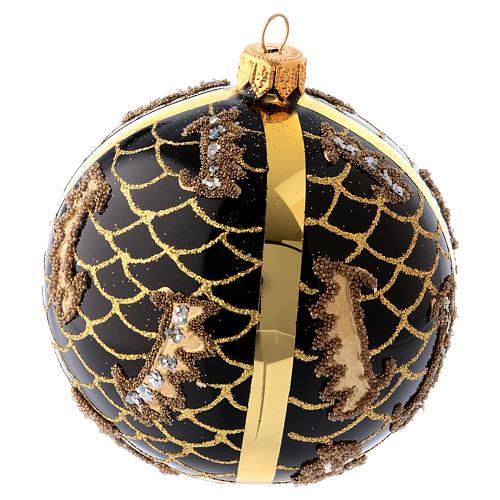 Bola Árbol de Navidad vidrio soplado 100 mm negro motivos diferentes dorados 2