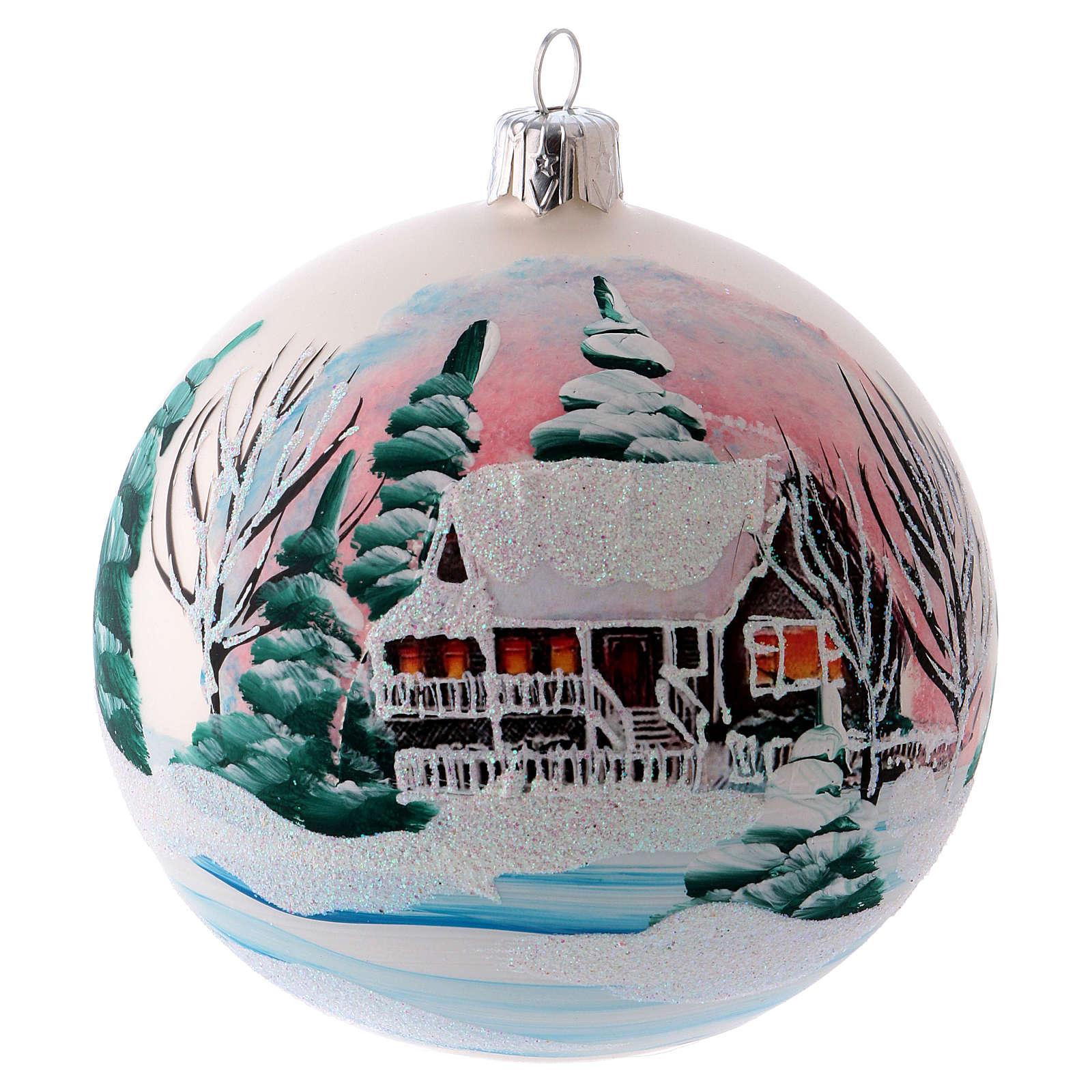 Weihnachtsbaumkugel matt aus mundgeblasenem Glas 100 mm Motiv winterliches Dorf 4