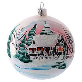 Weihnachtsbaumkugel matt aus mundgeblasenem Glas 100 mm Motiv winterliches Dorf s1
