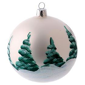 Weihnachtsbaumkugel matt aus mundgeblasenem Glas 100 mm Motiv winterliches Dorf s2