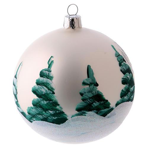 Weihnachtsbaumkugel matt aus mundgeblasenem Glas 100 mm Motiv winterliches Dorf 2