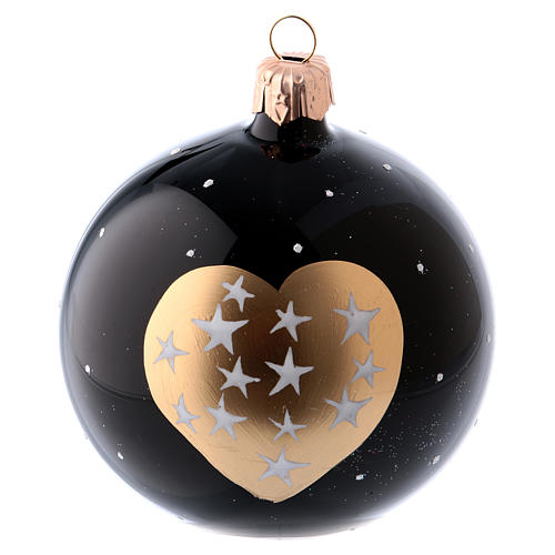 Bolitas Navidad 6 piezas vidrio soplado negras corazón dorado y estrellitas 80 mm 2
