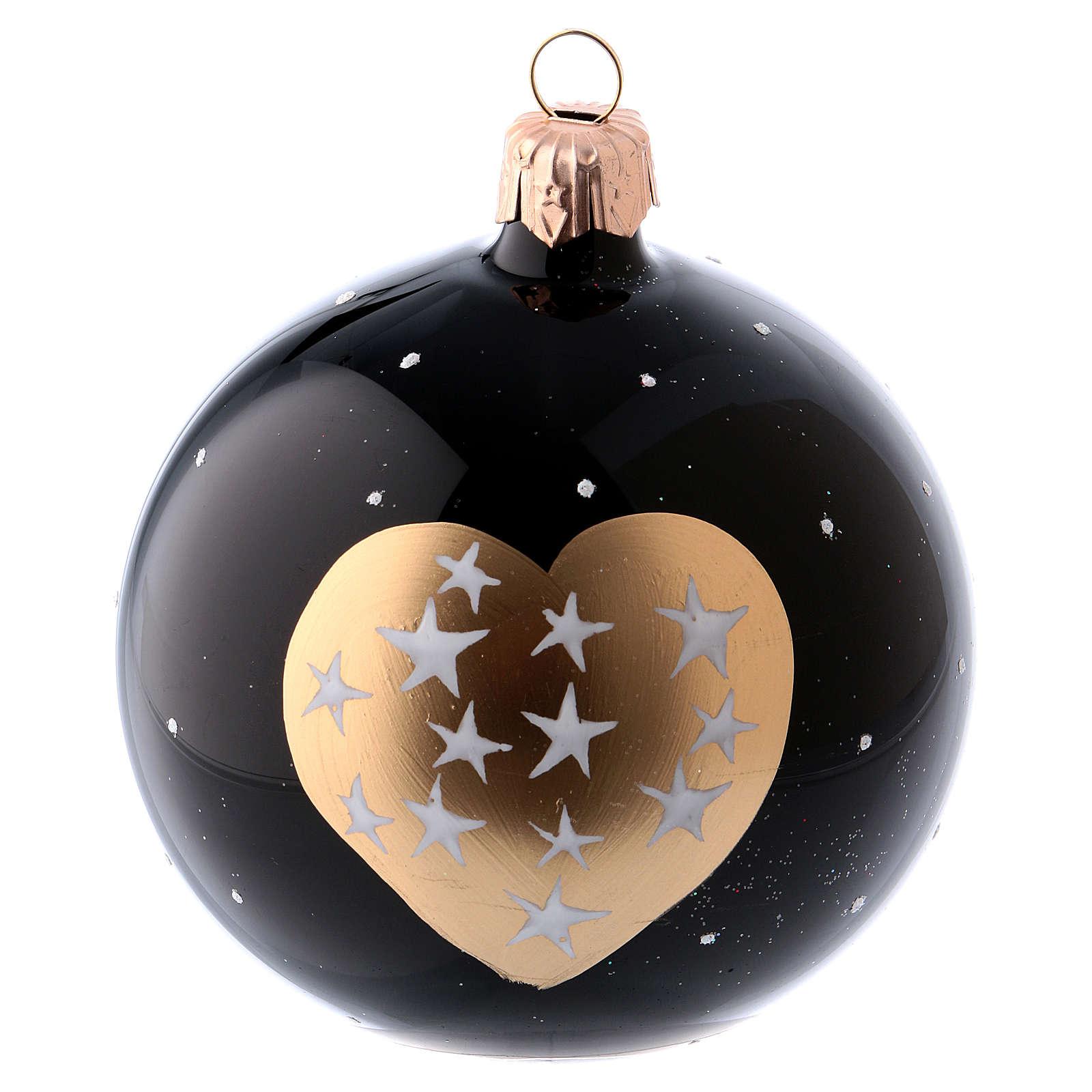 Boules Noël 6 pcs verre soufflé noir coeur doré et étoiles 80 mm 4