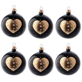 Boules Noël 6 pcs verre soufflé noir coeur doré et étoiles 80 mm s1