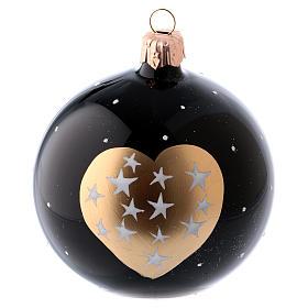 Boules Noël 6 pcs verre soufflé noir coeur doré et étoiles 80 mm s2