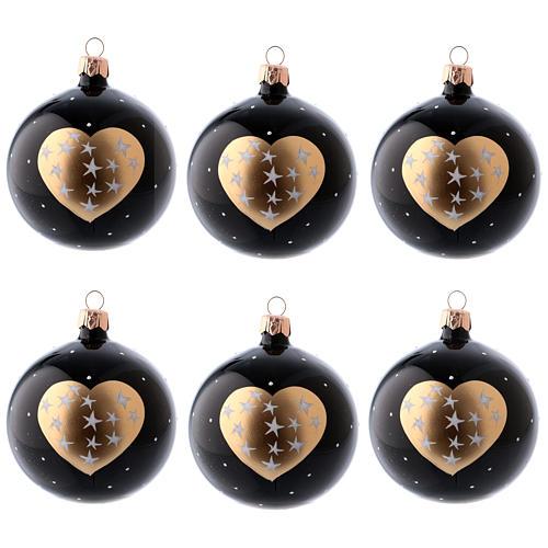 Palle Natale 6 pz vetro soffiato nere cuore dorato e stelline 80 ml 1