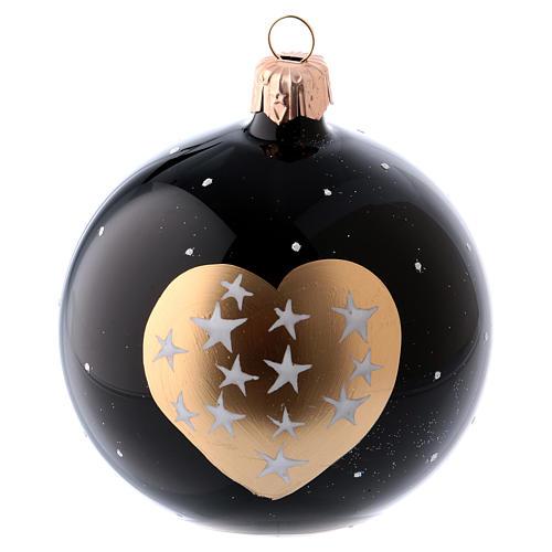 Palle Natale 6 pz vetro soffiato nere cuore dorato e stelline 80 ml 2