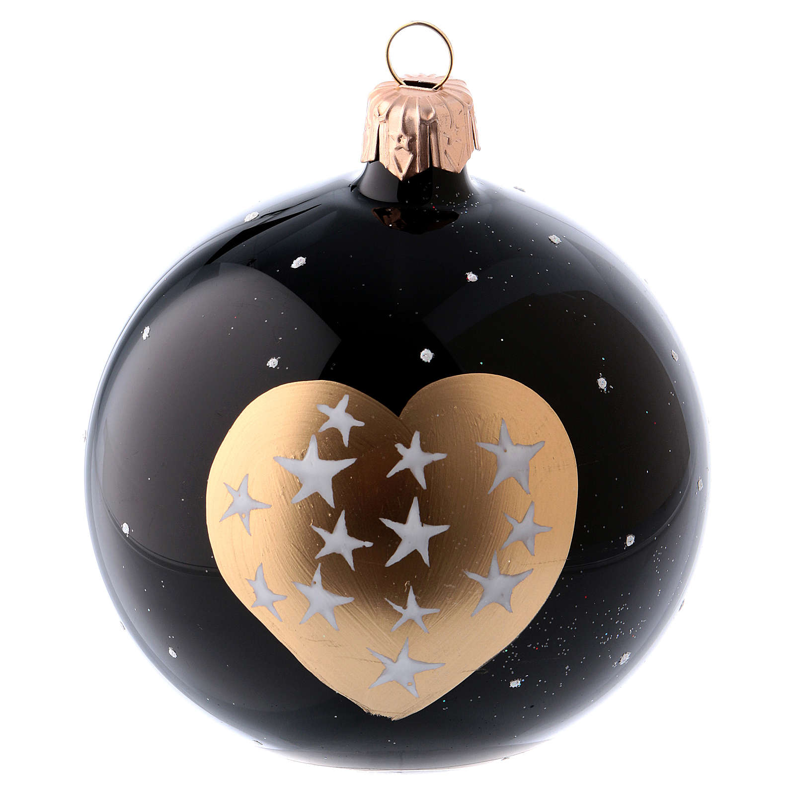 Black blown glass christmas balls 8 cm, golden hearts and stars, set of 6 4