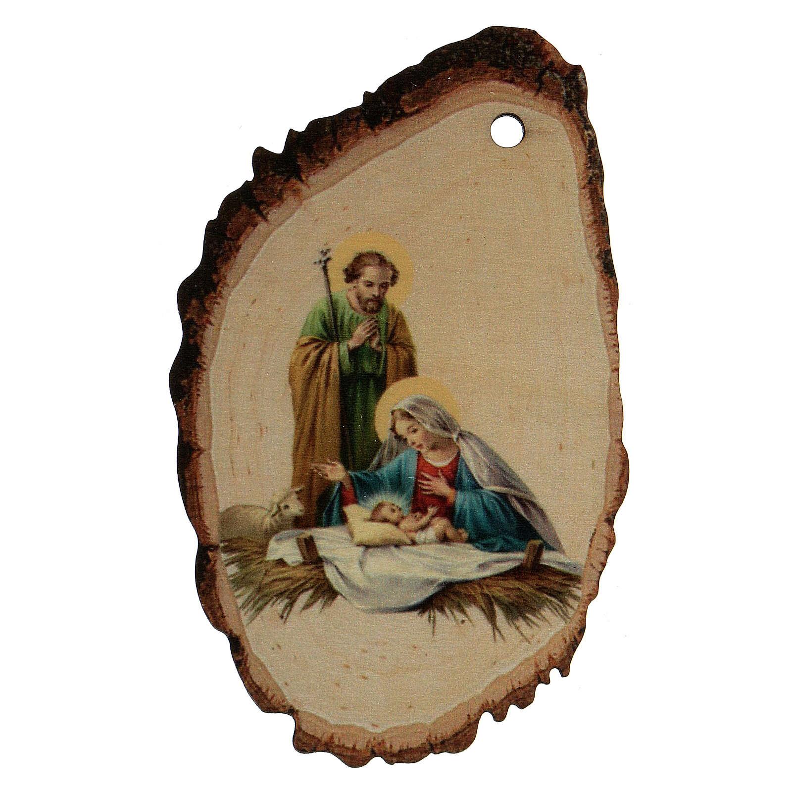 Addobbo Natalizio legno sagomato Sacra Famiglia e Gesù Bambino 4