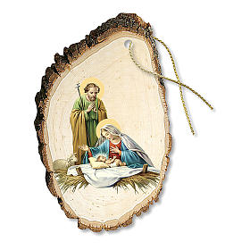Addobbo Natalizio legno sagomato Sacra Famiglia e Gesù Bambino s1