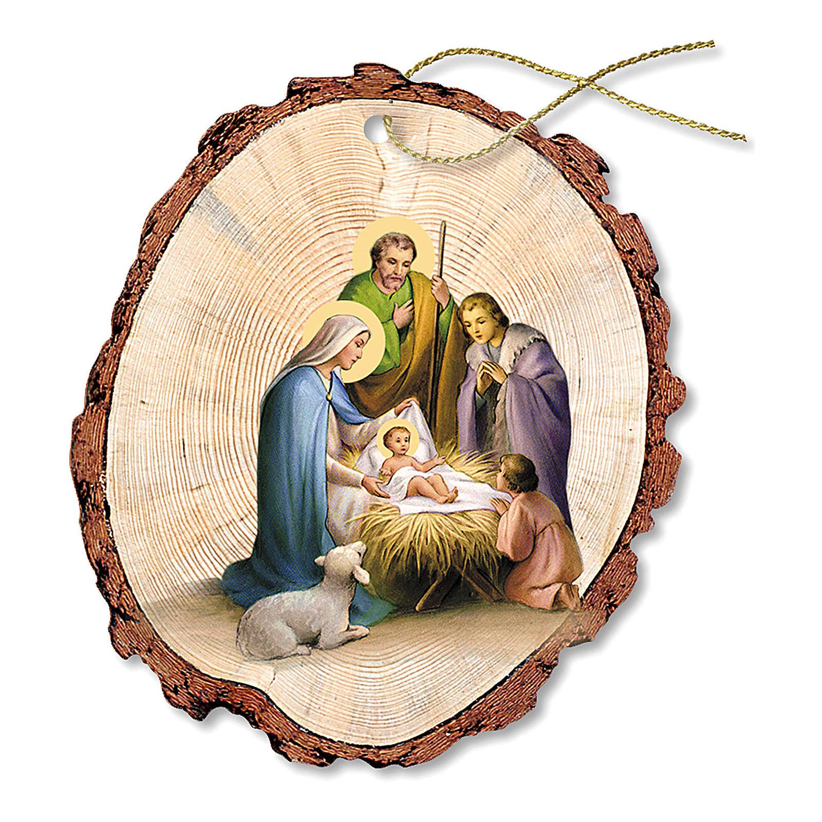 Décoration de Noël bois façonné Crèche Sainte Famille Enfant Jésus 4