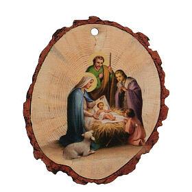 Addobbo Natalizio legno Presepe Sacra Famiglia Gesù Bambino s1
