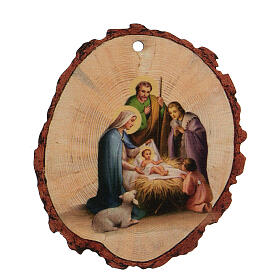 Round wooden Christmas ornament, Nativity scene with Baby Jesus s1
