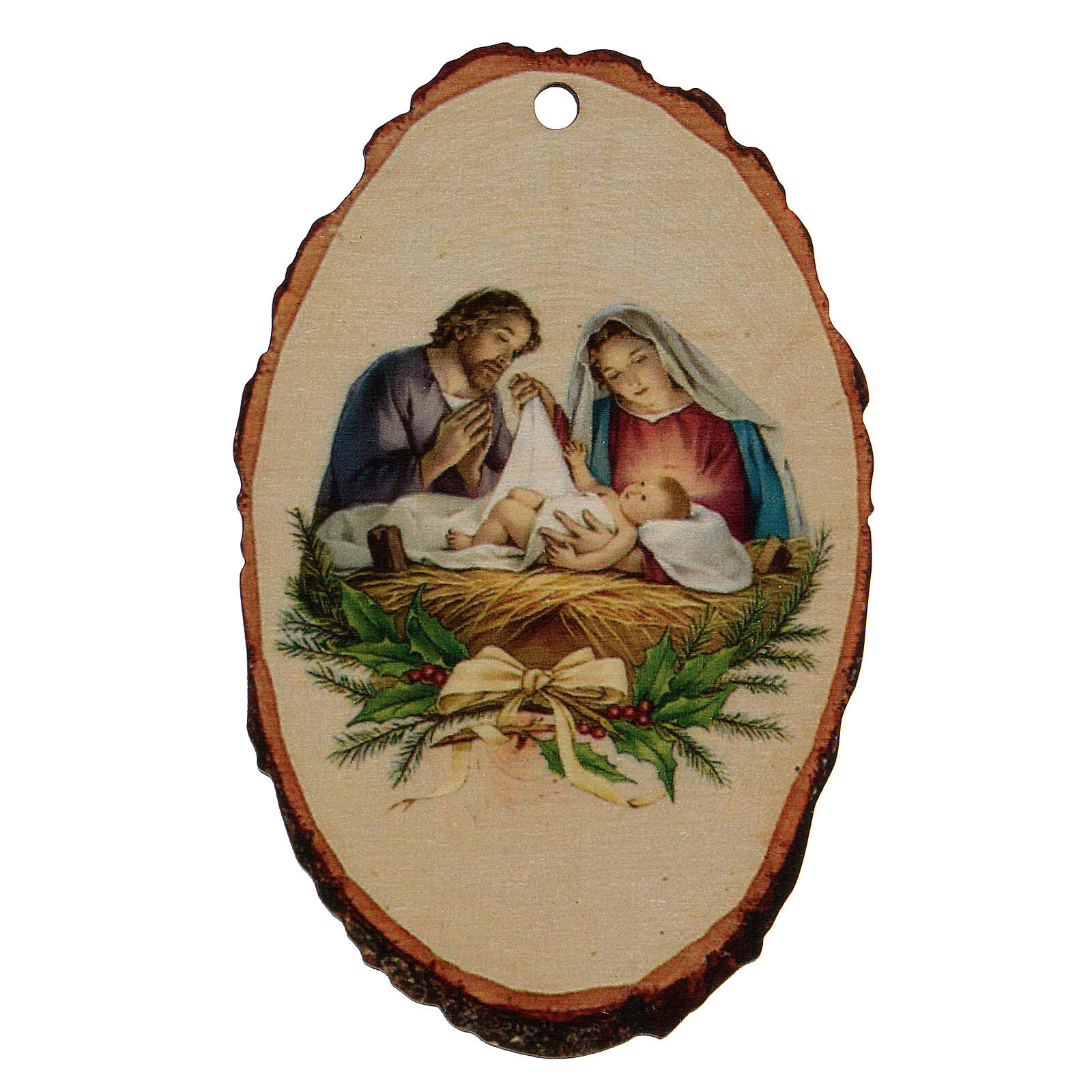 Christmas decoration in wood, Holy Family scene 4