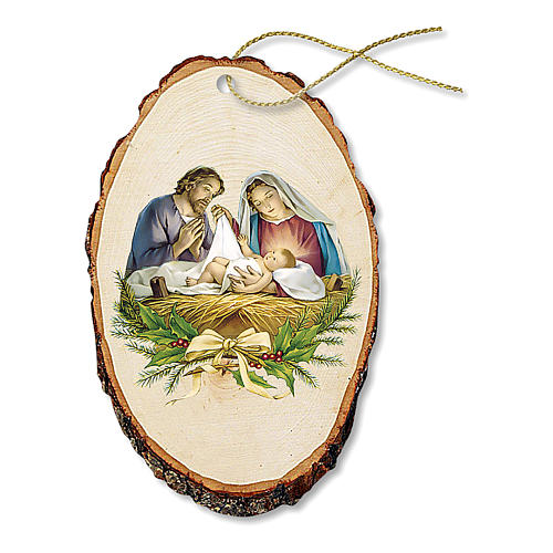 Christmas decoration in wood, Holy Family scene 1