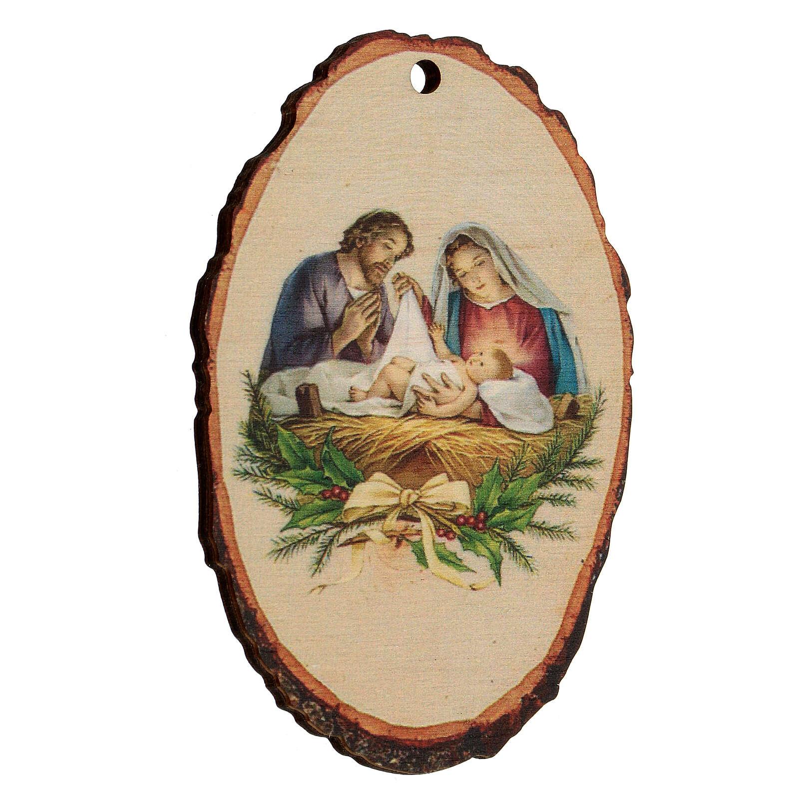 Addobbo Natalizio legno sagomato Presepe Natività 4
