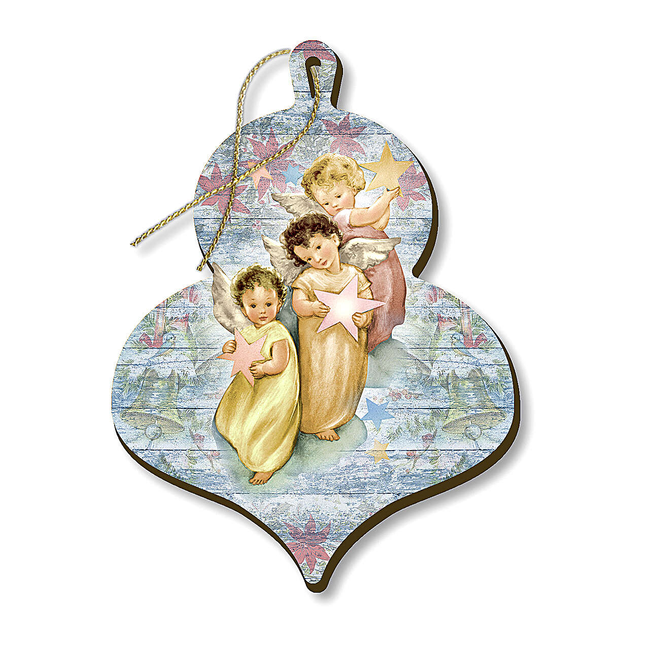 Wooden Christmas ornament, Three angels with Stars 4