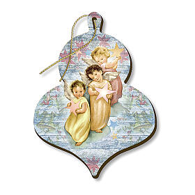 Wooden Christmas ornament, Three angels with Stars s1