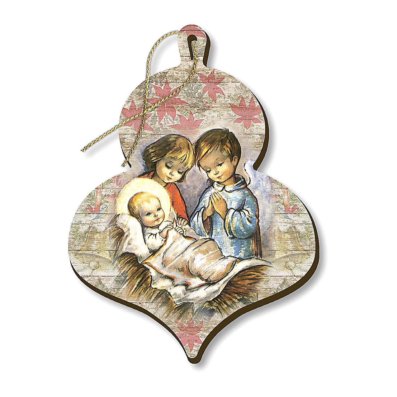 Wooden Christmas tree ornament, Children adoring Baby Jesus 4