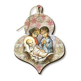 Wooden Christmas tree ornament, Children adoring Baby Jesus s1