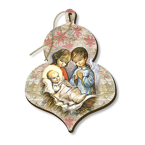 Wooden Christmas tree ornament, Children adoring Baby Jesus 1