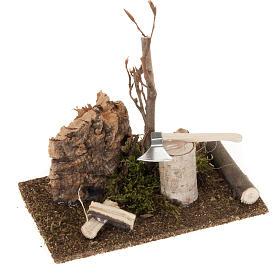 Nativity set setting, hatchet with logs s1