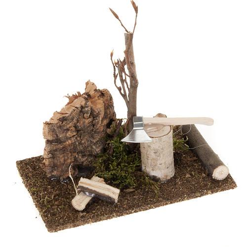 Nativity set setting, hatchet with logs 1