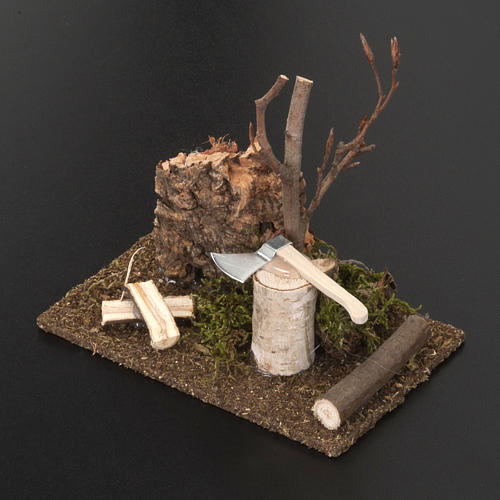 Nativity set setting, hatchet with logs 2