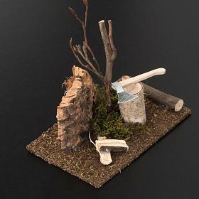 Nativity set setting, hatchet with logs s3