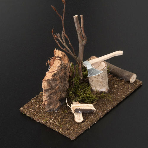 Nativity set setting, hatchet with logs 3