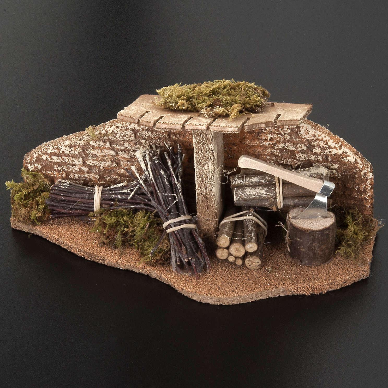 Décor crèche Noel, abri avec du bois 4
